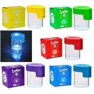 Cookies LED хранения банку табачный табачный контейнер аккумуляторная медицина коробка увеличительное стеск контейнер 155ML MAG JAR светящийся контейнер вакуумная бутылка