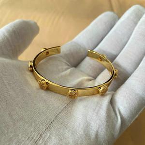 Mode vente chaude vraie 18 carats plaqués or bracelets bracelets boutonnage bracelet lettre mode nouveau pour femmes sans boîte