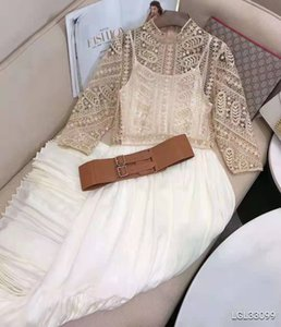 21SS spring and summer new heavy industry water-soluble lace hook flower embroidery stitching pleated skirt fashion slim retro dress with be
