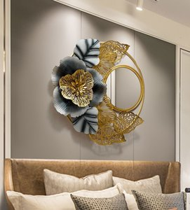 Iron Art Wall Decoration Living Room Background Wall Decorate rustic blue gold Metal frame Light Extravagant wall hanging frames with mirror