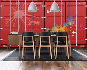 Envío de gota Papel tapiz personalizado Mural Retro europeo Retro Vintage Estilo Británico Contenedor Barra de fondo Pintura de pared Cafe Wallpaper