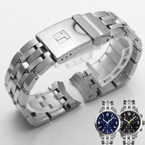 Shengmeirui 19mm PRC200 T055417 T055430 T055410 Watchband Saat Parçaları Erkek Şerit Katı Paslanmaz Çelik Bilezik Kayışı LJ201124