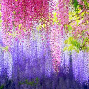 3pcs 110cm Artificial flowers Wisteria long Wedding Decor Artificial Silk Wisteria Flower Vines hanging Rattan Bride flowers