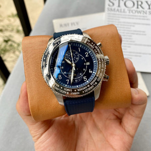 High Grade Men 42mm Quartz Battery Chronograph Japan Movement Blue Rubber Sport Model With Date Wristwatch Stainless Steel Free Shipping