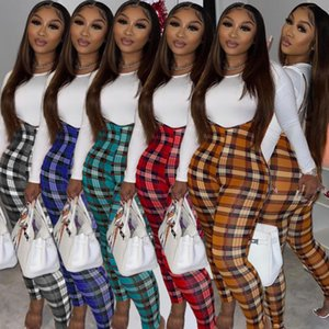 Donne Tracksuits Due pezzi Set Designer 2020 Slim Sexy Color T-shirt T-shirt Plaid tuta Ladies New Fashion Outfits Sportwear T0118