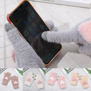 Imitation Cashmere Plush Knitted Gloves With Love Heart Women Mittens Winter Warm Touch Screen Gloves Full Finger 1 Pairs
