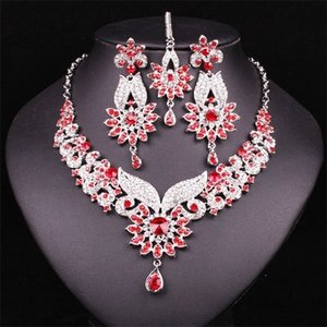 Fashion Indian Style Crystal Rhinestones Necklace Earrings Set Silver Plated Bridal Jewelry Sets Jewellery Christmas Gift Women Z1201