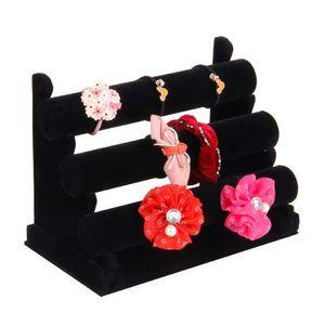 3-Tier Black Velvet Bracelet Chain Watch E-Bar Rack Jewelry Hard Display Stand Holder Jewelry Organizer Hard Display Rack Stand Z1123