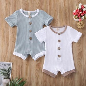 Baby Summer Clothing Newborn Infant Baby Boys Girls Clothes Ribbed Solid Romper Jumpsuit Short Sleeve Outfit 0-18M
