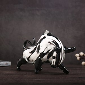 Modern Abstraction Coloured Glaze Black And White Cattle Art&Craft Lucky Gift Living Room Home Decoration Accessories M4240