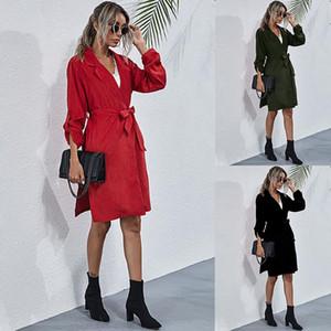 Leosoxs 2020 Spring Autumn Fashion Lapel Adjustable Long Sleeve Women's Jackets Casual Belt Tunic Solid Split Lady Long Jackets