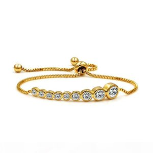 Fashion Micro Pave CZ Zirconia Crown Charm Bracelets for Women Crystal Beads Bangle Bracelet