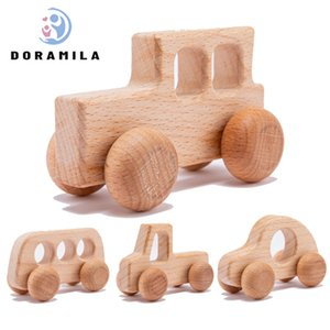 Baby Toys Beech Wooden Blocks 1pc Wooden SUV Car Bus Cartoon Educational Montessori Toys For Children Teething Baby Teethers