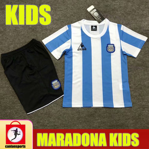 Enfants Retro 1986 Argentine Diego Maradona Soccer Jerseys 2020 2021 Commémorer Camiseta Boca Juniors 20 21 Chemises de football pour garçons jeunesse