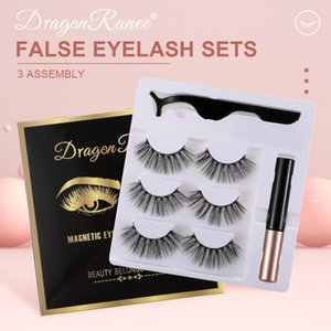 3pairs Magnetic Eyelashes Set 3D False Eyelashes Waterproof Long Lasting Magnetic Eyeliner Set Makeup Cosmetics TSLM2