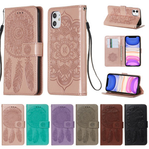 Embossing Leather Watter Phone Case for iPhone 12 11 Pro Max XS XR XsMax X 7 8 6S Plus Flip Card Slots Stand Full Protection Cover