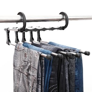 Multifunction Magic Clothes Hanger Stainless Steel Tube Pants Rack Retractable Clothes Trouser Holder Storage Hanger Home Organizer GWD3096