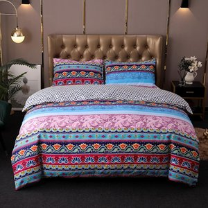 Bohemian Bedding Sets Folk-custom Mandala Duvet Cover Set Geometric Stripe Leopard Printing Bedlinens Bed Cover with Pillowcase