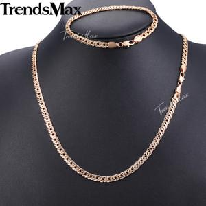 Set Trendsmax Gioielli per le donne 585 Bracciale da donna Rose Bracciale da donna Pieno Venetian Collana a catena di collegamento veneziana 5mm KGS280 6RT7