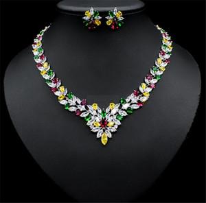 Trendy Luxury Zircon Crystal Bridal Jewelry Sets Pendant necklace Earrings Women Wedding Party Jewelry temperament flower