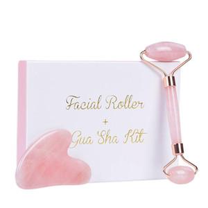 Slimming Face Massager Rose Quartz Roller Natural Jade Facial Massage Roller Stone Skin Massage Face Massager Lifting Tool SSSSS