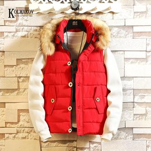 KOLMAKOV New Arrival Fur Collar Hooded Vest Men Casual Waistcoat Sleeveless Padded Jacket Couples Detachable Hat Outwear 3 Color