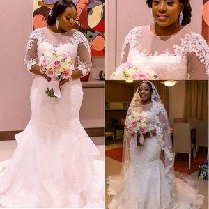 2021 Lace Mermaid Wedding Dresses Plus Size Bohemian Bridal Gowns Long Sleeves South African Vestidos De Noiva