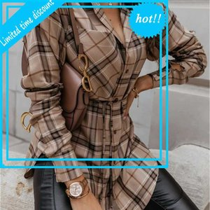 Women New Vintage Lattice Print Elegant Revers Single-Breasted Loose Overshirt Herfst Winter Lady Casual Long Mouw Blouse Femme