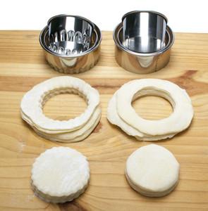 Cookie Pastery Wrapper Herramienta de corte de masa 3 unids / set Cutter Fabricante Herramienta de acero inoxidable Molanas de masa hervida redondas Wrappers Molds Set AHF3325