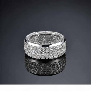 Luxury Iced Out CZ Cubic Zirconia Gold Hip Hop Pentagram Star Mens Ring Band Full Diamond Street Rapper Jewelry Gifts for Men