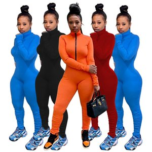 Stand Neck Womens Designer Jumpsuits Solid Color Slim Spring Autumn Sport Flexible 4 Colors Option Women Causal Rompers