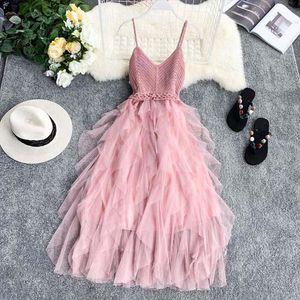 New Women Tulle Dress Summer High Waist Mesh Dress Hem ruffle solid dress Pleated Female Slim Fairy Dresses