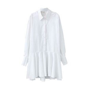 Fashion-Women White Shirt Mini Dress Turn Down Collar Latern Long Sleeve Office Lady Pleated Dress Cotton Casual Loose Vestidos