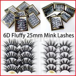 25mm 6D Faux Mink Lashes 5 pairs box False Eyelashes Thick Long Stereo Fluffy Fake Eye Lashes Makeup Eyelash Extensions Kit