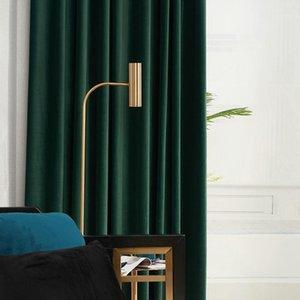 Северные бархатные занавески Темно-зеленая спальня бархатные шторы Blaclout сплошной цвет для спальни и гостиной1