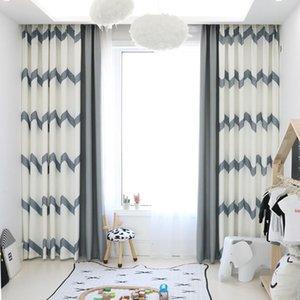 회색 커튼 거실 회색 및 베이지 색 바느질 스트립 된 창 커튼 침실 블랙 아웃 커튼 커튼 커튼