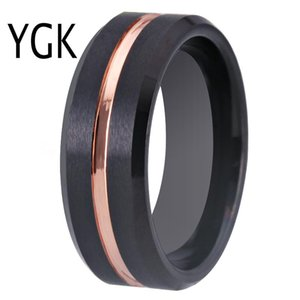 YGK Wedding Jewelry Matte Black Bevel With Rose Groove Tungsten Rings for Men's Bridegroom Wedding Engagement Anniversary Ring