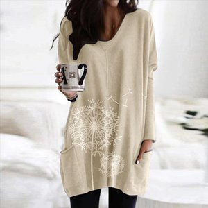 Women Blouse Shirt Casual Plus Size 5xl O neck Print Pocket Blouse Long Sleeve Patchwork Womens Tops Blouses Camisas Mujer 38