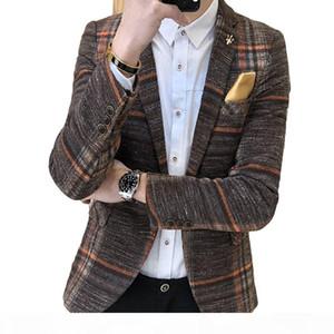 Men Slim Fit Designs Korean Elegante Male Plaid Masculino Tweed Button Wedding Casual mens Blazer Jacket SuitMX190905