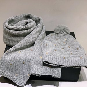 2020 design new high quality fashion gray men and women wool knit suit sequin hat thick warm scarf free shipping