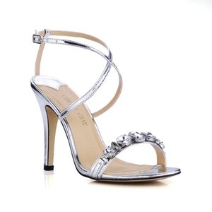 CHMILE CHAU Silver Sexy Party Shoes Women Stiletto High Heels Rhinestone Crystal Ankle Strap Ladies Sandals Zapatos Mujer XD09-6