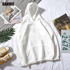 Ranmo Hommes Sweats Hoodies Casual Harajuku Automne Solide Manches Longues Lâche Coréen Hip Hop Hood Sweatshirts Streetwear Pulls Tops Man1