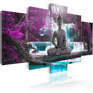5 Pieces Modular Pictures Buddha Statue Wall Art Waterfull Canvas Poster Modern Nature Pictures for Living Room Home Decor