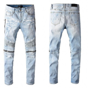 New High quality Mens jeans Distressed Motorcycle biker jeans Rock Skinny Slim Ripped hole letter printing Denim pants jeans