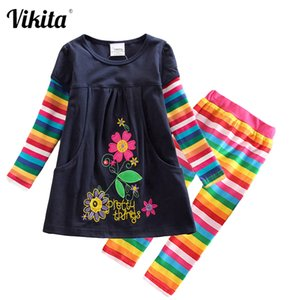 VIKITA Girls Flower Cotton Dress Long Sleeve with Pocket and Rainbow Striped Leggings 2 Pcs Clothing Sets Children Clothes F1208