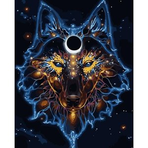 Painting By Numbers DIY Dropshipping Big size Mask behind the wolf Animal Acrylic House Decoration Art picture Gift