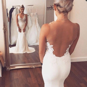 Sexy Scoop White Wedding Dresses Sleeveless Applique Mermaid Illusion Back Sweep Train Floor Length Bridal Gowns Vestido De Noiva P53