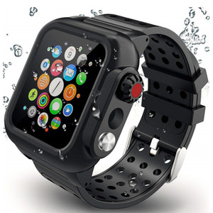 IP68 Waterproof Full Protective Case+Silicone Strap for Apple Watch Band Series SE 6 5 4 3 2 Sport Cover Set for iWatch 42mm 44mm 38mm 40mm