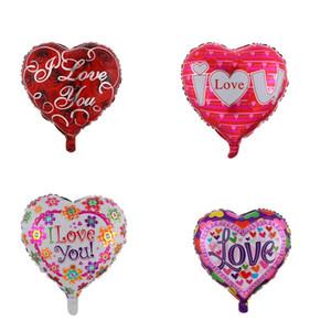 Globos en forma de corazón de 18 pulgadas Días de San Valentín de las bodas Te amo Balloon de la decoración de la fiesta de boda de los globos de los globos de aluminio