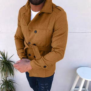Winter Male Jacke Trench With Belt Men Autumn Winter Slim Fit Long Sleeve Top Jackets Trench Coat Outwear Blouse Man Jacket Wind